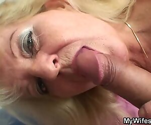 Old blonde mother in law rides his cock