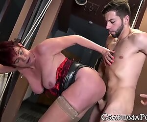 Old and young pair with grandma and dude nicely banging