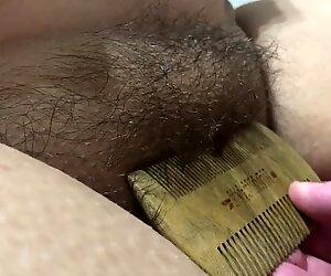 Hairy Pussy BBW Brushing