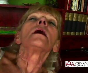 Slender granny rubbing her pussy before riding a rod