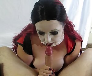 Harley gives supreme head and take a massive blast on her face