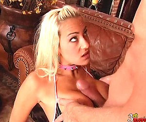 First a blowjob then Trina Michaels spreads her slippery pussy onto hard cock