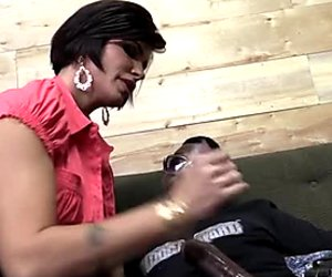 Buxom brunette MILF Shay Fox blows giant black cock ardently