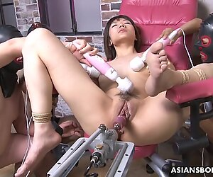 Fucking her with a sex machine and gimps go bananas