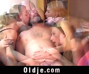 Shameless girls licking an ancient ass