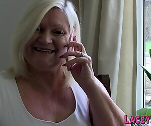 Gran in heels and stockings gobbles cock
