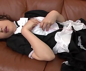 Beautiful Japanese maid masturbates her love tube all alone