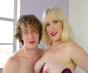 Amazing blonde slut with pierced nipples loves giving head