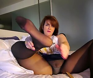 elderly chick stockings feet soles