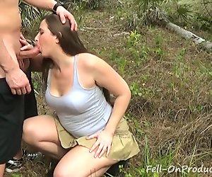 MILF Madisin Lee gets Facial in the Woods