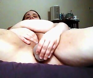 BBW toying her hairy pussy