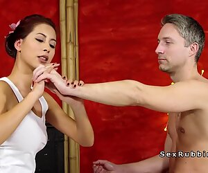 Skillful Asian masseuse gives handjob and fuck - Christy Charming