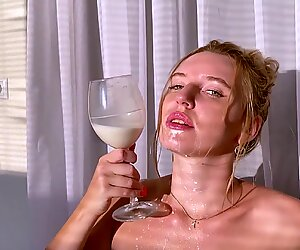 Hottie Plays with Milk - Fingering and Intensive Orgasm