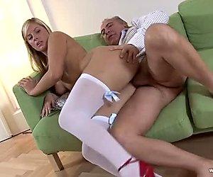 Sweet blonde  enjoys meaty dick of one  horny fucker  Jim Slip Agnes