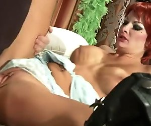 Lusty babe Alektra Blue in red wig fucks missionary style