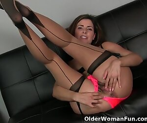 american cougar Helena heads to town on her hairy lady bits