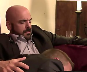 Dirk Caber and Adam Russo ramming each other hard on the bed