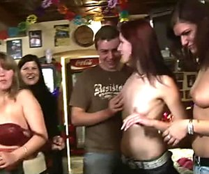 Dirty group sex orgy  with drunk topless girls
