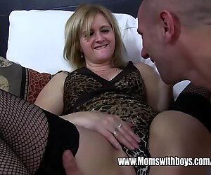 Mature Maid Fucks Boy On Sofa After Catching Him With Porn