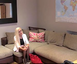 Busty blonde goes on a casting and gets a cock in her ass