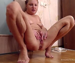 Muscular girl getting off