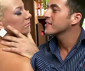 Two girls and six guys gets very naughty in a nasty gangbang