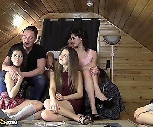 Adorable college girls getting slammed hard during an orgy