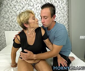 Old grandmother pounded and cum sprayed