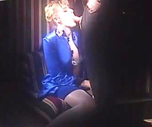 Short haired vintage MILF in stockings provides dick with a nice blowjob