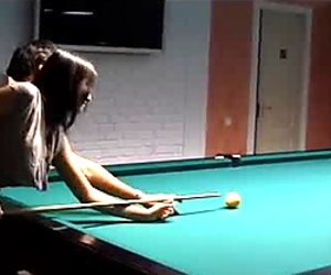 Horn made brunette hoe gets banged in doggy pose while bending over pool table