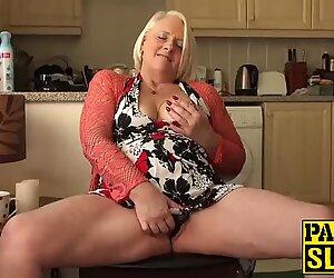 British mature blonde granny Carol fingers her wet pussy - Karol Lilien