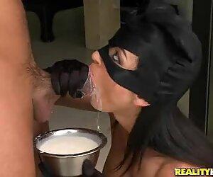 Masked cock sucker Franceska Jaimes deepthroating fatty