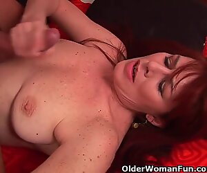 Grandma With Hairy Cunt Enjoys A stiff bone In Her gullet And Pussy