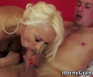 Hot grandma rides cock