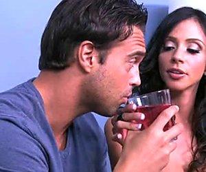 Lustful MILF Ariella Ferrera flashes her juicy jugs for cam