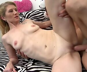 Mature mom and kinky son having sex at home