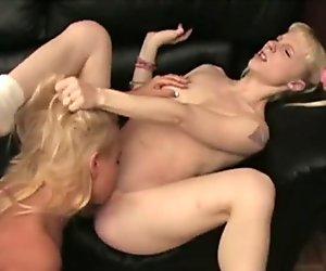 Blonde Chick Stuffs Cucumber Inside Her Pussy