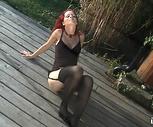 Redhead teases you outdoors