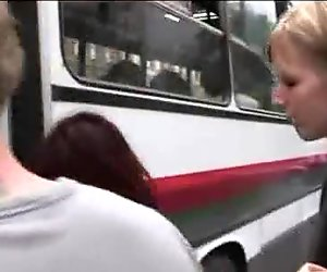 Handcuffed babe blowjob in bus