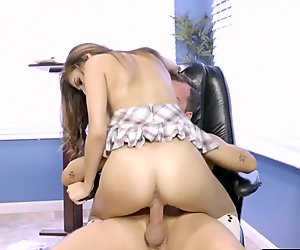 Horny brunette chick gets filed up by big dick boss man