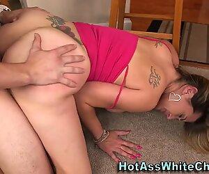 Huge assed slut rides rod