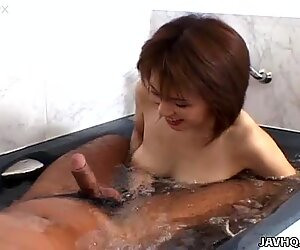 Petite Asian mommy Kyoko Hayama gets boned at the bathtub