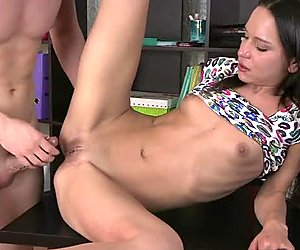 Gorgeous chick is pumping her sexy bald beaver
