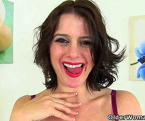 british milf mind-blowing Jozie strips and plays on restroom