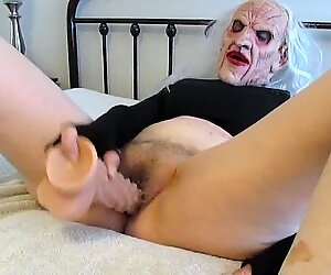 Cosplay creepy Witch doing myself with a bumpy dildo..