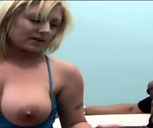 Blonde with big natural tits suckin' and fuckin' big black monster cock