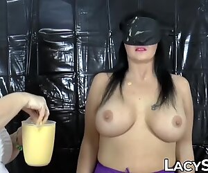 Granny licks her friend all over after messy makeout