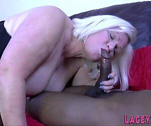 British grandmother in interracial threesome