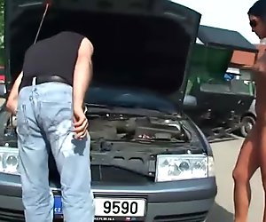 Nudist fetish eurobabe teases mechanics
