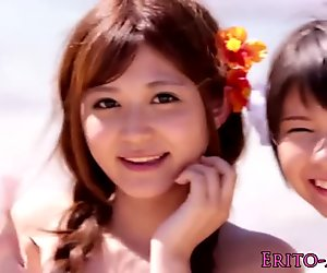 Squirting japanese beach babes in bikinis